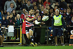 Sherwin Stowers passes back infield. The game of Three Halves, a pre-season warm-up game between the Counties Manukau Steelers, Northland and the All Blacks, played at ECOLight Stadium, Pukekohe, on Friday August 12th 2016. Photo by Richard Spranger.