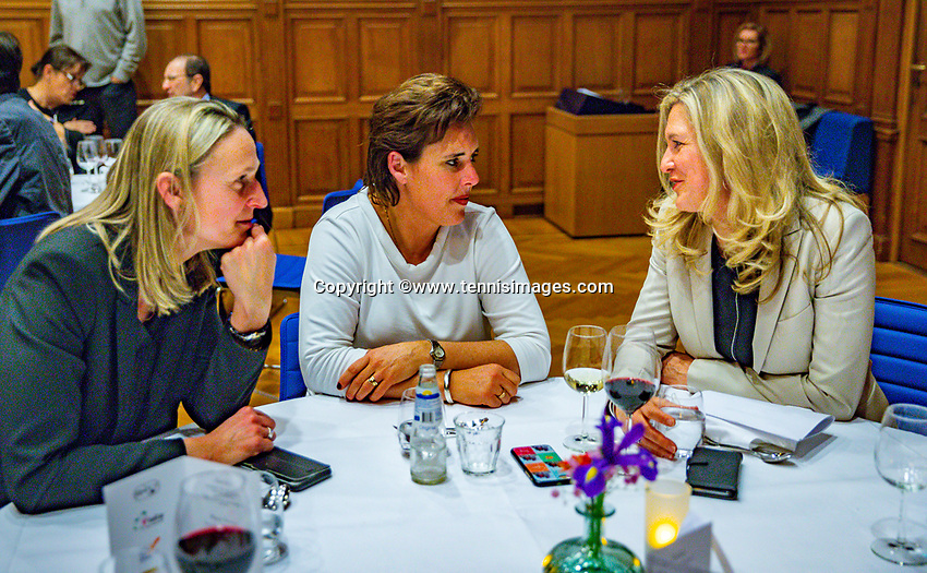 Den Bosch, The Netherlands, Februari 07 2019,  Maaspoort , FedCup  Netherlands - Canada, official dinner, Steffanie Rottier, Mirjam Oremans and Kristy Boogert ltr<br /> Photo: Tennisimages/Henk Koster