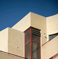 A window detail of a Bauhaus style building at 4 Ein Vered Street. Tel Aviv is known as the White City in reference to its collection of 4,000 Bauhaus style buildings, the largest number in any city in the world. In 2003 the Bauhaus neighbourhoods of Tel Aviv were placed on the UNESCO World Heritage List. ..