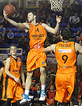 Montakit Fuenlabrada's Ludde Hakanson, Ian O'Leary (c) and Blagota Sekulic (r) during Eurocup, Top 16, Round 2 match. January 10, 2017. (ALTERPHOTOS/Acero)