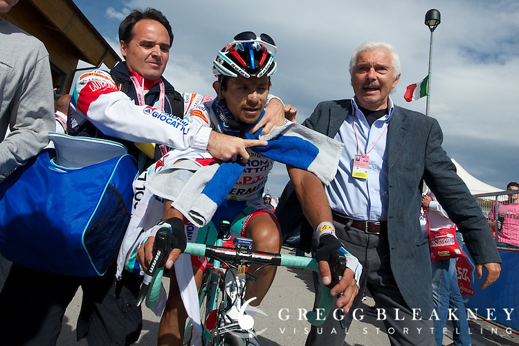 Rujano was the only man to challenge Contador on Mount Etna. His second place finish was a big win for team Androni.