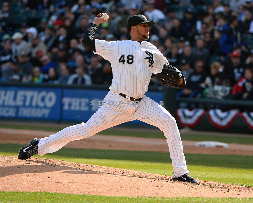 Chicago White Sox Hector Noesi (48) during the White Sox home opener against the Minnesota Twins on April 10, 2015 at US Cellular Field in Chicago, IL. The Twins beat the White Sox 6-0.