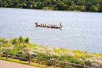 Asian dragon boat practicing on Lake Phalen. Dragon Festival Lake Phalen Park St Paul Minnesota USA