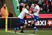 Matt Banahan of Bath Rugby celebrates his first half try with team-mate Kahn Fotuali'i. Aviva Premiership match, between Harlequins and Bath Rugby on March 2, 2018 at the Twickenham Stoop in London, England. Photo by: Patrick Khachfe / Onside Images