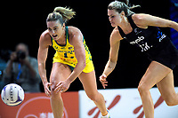 Liz (left) and Jane Watson chase the ball during the Constellation Cup Netball Series match between the New Zealand Silver Ferns and Australia Diamonds at Horncastle Arena in Christchurch, New Zealand on Sunday, 13 October 2019. Photo: Dave Lintott / lintottphoto.co.nz