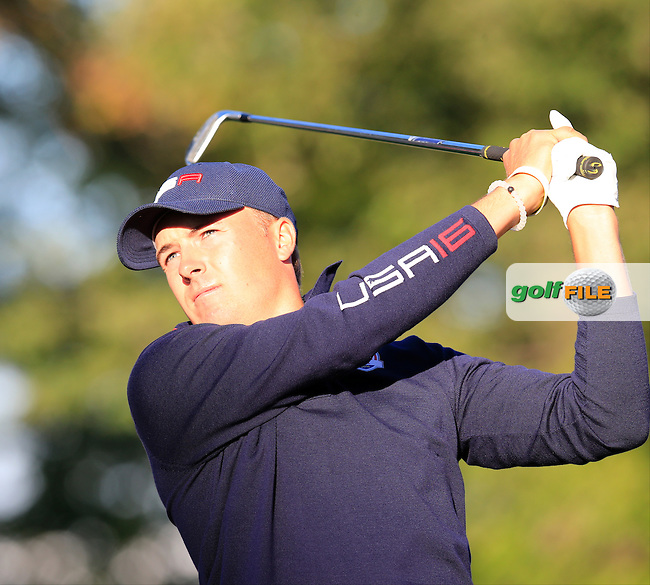 Jordan Spieth US Team tees off the 4th tee during Saturday Morning Foursomes Matches of the 41st Ryder Cup, held at Hazeltine National Golf Club, Chaska, Minnesota, USA. 1st October 2016.<br /> Picture: Eoin Clarke | Golffile<br /> <br /> <br /> All photos usage must carry mandatory copyright credit (&copy; Golffile | Eoin Clarke)