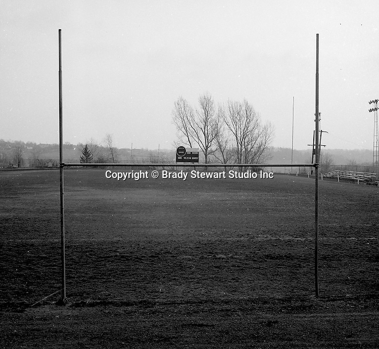 Bethel Park PA: View of the Bethel Park High School football field - 1963. The field, lights and stands were not good for a AA football program.