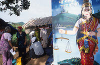 INDIA, Madhya Pradesh, Medha Patkar and Arundhati Roy in Adivasi village Domkhedi during protest rally against Narmada dams at Narmada River, right protest poster with Hindu goddess Narmada holding a Scale with two bowls as symbol for justice, one bowl content the dams, the other bowl the affected people in the Narmada valley