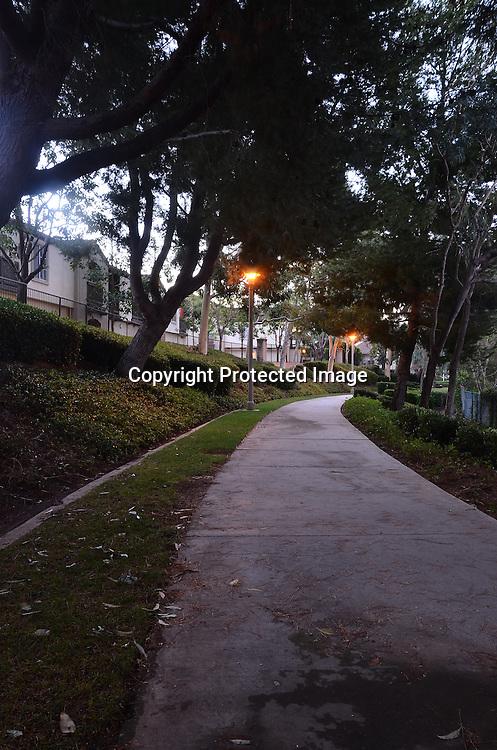Early morning walkway stock photo