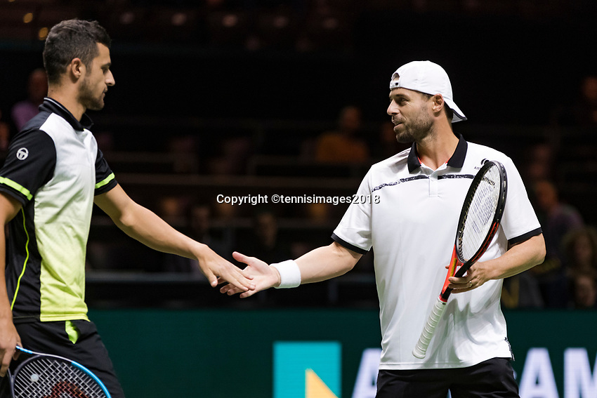 Rotterdam, The Netherlands, 17 Februari, 2018, ABNAMRO World Tennis Tournament, Ahoy, Tennis, Semi Final doubles: Mate Pavic (CRO) / Oliver Marach (AUT) (R)<br /> <br /> Photo: www.tennisimages.com