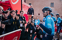 Alejandro Valverde (ESP/Movistar) pleasing the press with a photo-opp pre-race<br /> <br /> 27th Challenge Ciclista Mallorca 2018<br /> Trofeo Campos-Porreres-Felanitx-Ses Salines: 176km