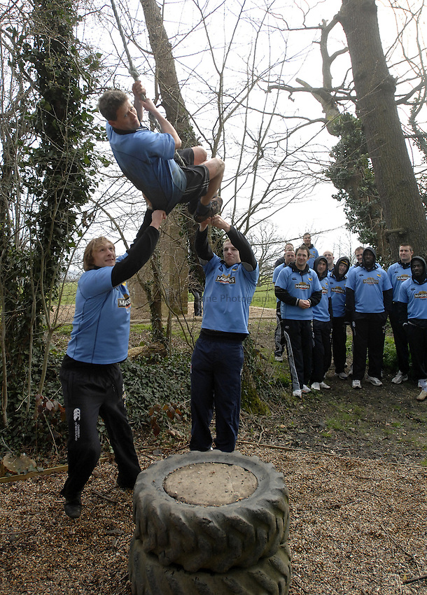 Photo: Richard Lane..Photoshoot of London Wasps taking part on a Magners Assault Course at Harrow School. 20/03/2007. .Mike Bushell with Martin Purdy and James Haskell.