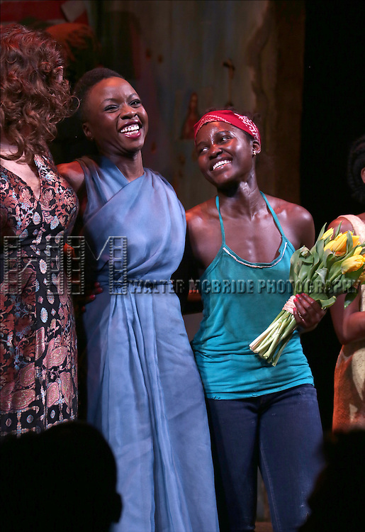 Liesl Tommy, Danai Gurira, Lupita Nyong'o onstage during the 'Eclipsed' broadway opening night curtain call at The Golden Theatre on March 6, 2016 in New York City.