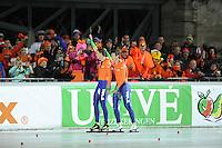 SCHAATSEN: BOEDAPEST: Essent ISU European Championships, 08-01-2012, 10000m Men, Sven Kramer NED, Jan Blokhuijsen NED, ©foto Martin de Jong