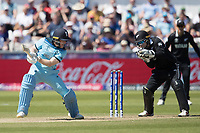 Eoin Morgan (England) cuts backward of point during England vs New Zealand, ICC World Cup Cricket at The Riverside Ground on 3rd July 2019