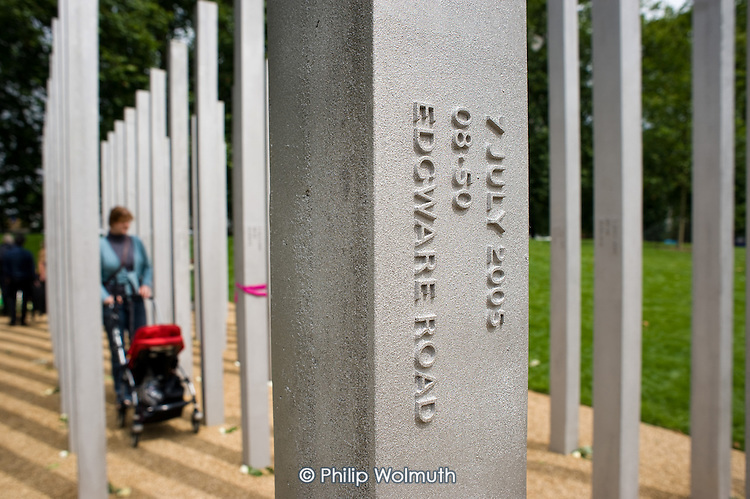 The 7/7 Monument in Hyde Park.  The memorial to the 52 people killed in the London bombings of 7 July 2005 was designed by architects Kevin Carmody and Andy Groarke.  Edgware Road tube station was the site of the site of one of the bombings.