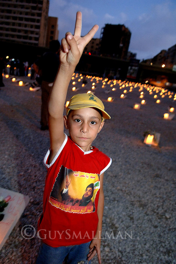 Every night a 7 oclock during the war there would be a gathering in Martyrs Square in downtown Beirut. The vigil was a mixture of candle lighting and remembrance for the dead and demonstrating against Israel and in support of Hezbollah.