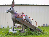 Henry's Ra66it Ranch in Staunton Illinois is a spoof of attractions found along Route 66. The Jackalope is a take off of the one in New Mexico.