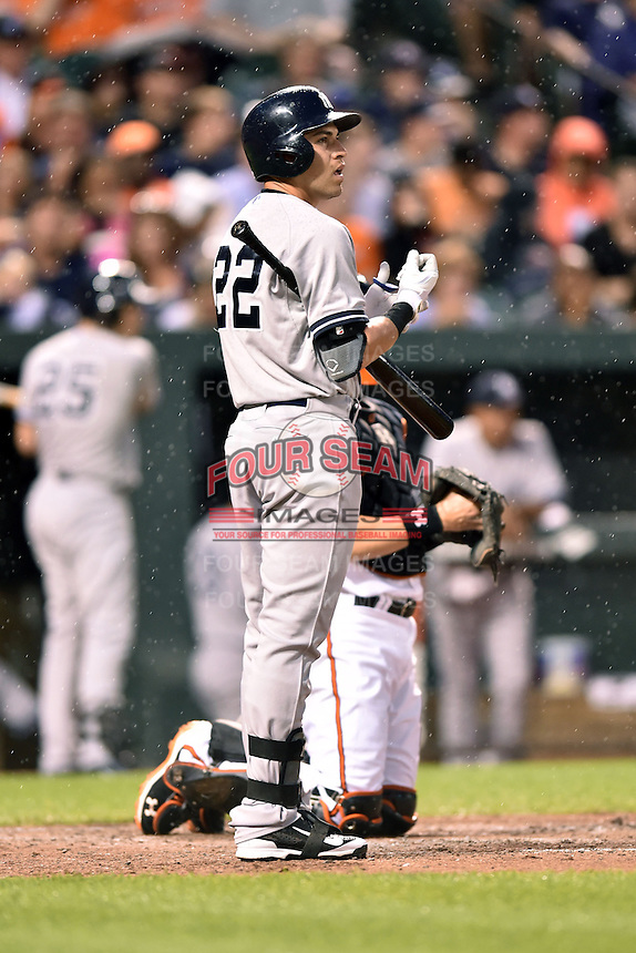 New York Yankees center fielder Jacoby Ellsbury #22 during a game against the Baltimore Orioles at Oriole Park at Camden Yards August 11, 2014 in Baltimore, Maryland. The Orioles defeated the Yankees 11-3. (Tony Farlow/Four Seam Images)