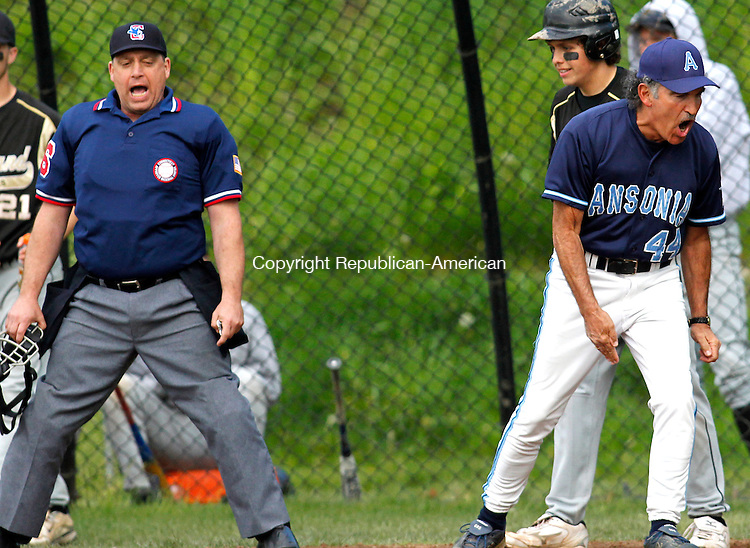 Beacon Falls, CT-04, May 2010-050410CM06 Ansonia head coach Michael Vacca argues a call with the home plate umpire following a Woodland run, Tuesday afternoon in Beacon Falls.  --Christopher Massa Republican-American