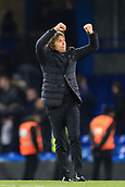 5th November 2017, Stamford Bridge, London, England; EPL Premier League football, Chelsea versus Manchester United; Chelsea Manager Antonio Conte celebrates the 1-0 win