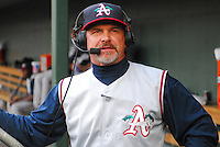 June 11, 2009: Manager Joe Mikulik (20) of the Asheville Tourists is interviewed on the television broadcast during a game against the Greenville Drive at Fluor Field at the West End in Greenville, S.C. Photo by: Tom Priddy/Four Seam Images