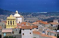 Marcasso village facing the Mediterranean Sea, Corsica, France.
