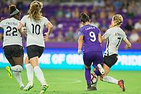 Orlando, FL - Saturday August 12, 2017: Camila Martins Pereira, Nikki Stanton during a regular season National Women's Soccer League (NWSL) match between the Orlando Pride and Sky Blue FC at Orlando City Stadium.