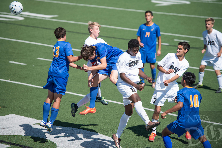 NWA Democrat-Gazette/ANTHONY REYES &bull; @NWATONYR<br /> Bentonville versus North Little Rock Thursday, May 12, 2016 during the 7A state soccer tournament at Jarrell Williams Bulldog Stadium in Springdale. The Tigers won 7-0.
