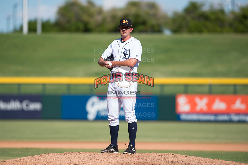 Mesa Solar Sox relief pitcher John Schreiber (36), of the Detroit Tigers organization, during an Arizona Fall League game against the Peoria Javelinas at Sloan Park on October 24, 2018 in Mesa, Arizona. Mesa defeated Peoria 4-3. (Zachary Lucy/Four Seam Images)