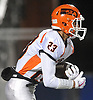 Nick Giacalone #23 of Carey races downfield during the Nassau County Conference II varsity football semifinals against Mepham at Hofstra University on Friday, Nov. 10, 2017.