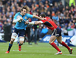 Joshua Furno of Italy tackled by Sean Lamont of Scotland - RBS 6Nations 2015 - Scotland  vs Italy - BT Murrayfield Stadium - Edinburgh - Scotland - 28th February 2015 - Picture Simon Bellis/Sportimage