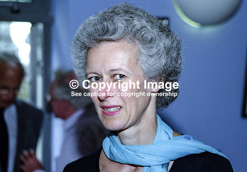 Eirenice Gore-Booth, of Lissadell, Co Sligo, Ireland, and England, UK, painter, artist, 199908013, taken at 1999 Yeats Summer School, Sligo, Rep of Ireland. Grandniece of Constance Gore-Booth, Countess Markievicz, and Eva Gore-Booth watercolours inspired by the lrandniece of Constance Gore-Booth (Countess Markievicz) and Eva Gore-Booth watercolours inspired by the landscape of Sligo. She died after a long illness, aged 54 in August 2003...Copyright Image from Victor Patterson, 54 Dorchester Park, Belfast, UK, BT9 6RJ..Tel: +44 28 9066 1296.Mob: +44 7802 353836.Voicemail +44 20 8816 7153.Skype: victorpattersonbelfast.Email: victorpatterson@mac.com.Email: victorpatterson@ireland.com (back-up)..IMPORTANT: If you wish to use this image or any other of my images please go to www.victorpatterson.com and click on the Terms & Conditions. Then contact me by email or phone with the reference number(s) of the image(s) concerned.
