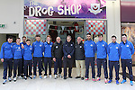 Johnny McDonnell (Drogheda United Manager), Richard Bruton (Chairman Drogheda Boys) and Fiacra Kierans (Chairman Drogheda United) and members of the Drogheda United team outside the Drog Shop during a photoshoot at Scotch Hall on Saturday 14th March 2015.<br /> Picture:  T.J Caffrey / www.newsfile.ie