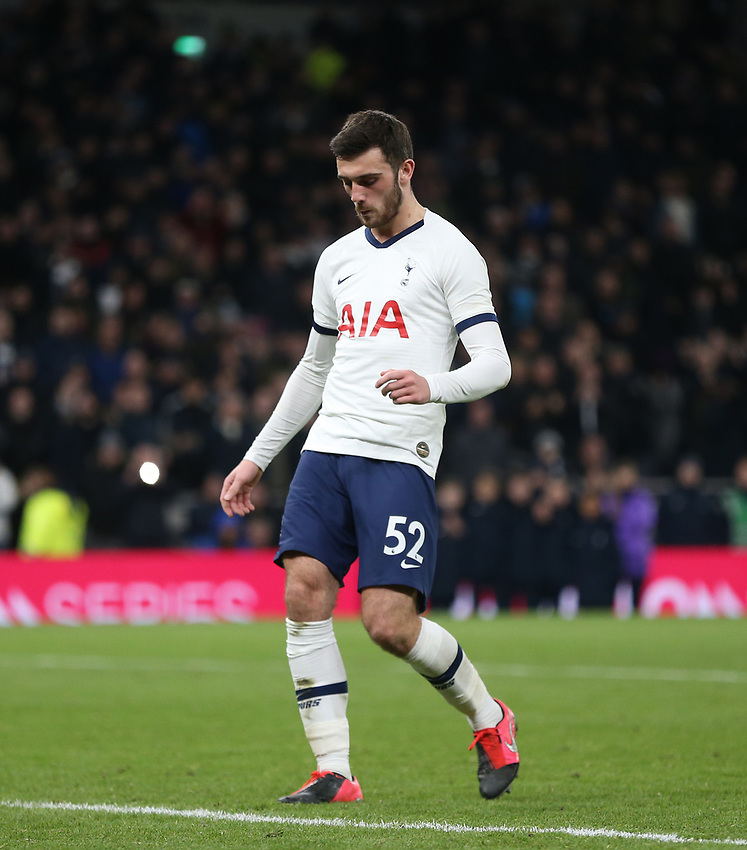 Tottenham Hotspur's Troy Parrott after missing his penalty during the shoot-out<br /> <br /> Photographer Rob Newell/CameraSport<br /> <br /> The Emirates FA Cup Fifth Round - Tottenham Hotspur v Norwich City - Wednesday 4th March 2020 - Tottenham Hotspur Stadium - London<br />  <br /> World Copyright © 2020 CameraSport. All rights reserved. 43 Linden Ave. Countesthorpe. Leicester. England. LE8 5PG - Tel: +44 (0) 116 277 4147 - admin@camerasport.com - www.camerasport.com