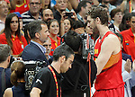 King Felipe VI of Spain with Pau Gasol after basketball friendly match Spain-Argentina.August 25,2014.(ALTERPHOTOS/Acero)