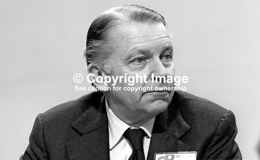 Francis Pym, MP, Conservative Party, UK, Foreign Secretary, at annual conference, Brighton. 19821000143FP3..Copyright Image from Victor Patterson, 54 Dorchester Park, Belfast, UK, BT9 6RJ.  Tel: +44 28 90661296  Mobile: +44 7802 353836.Email: victorpatterson@me.com Email: victorpatterson@gmail.com..For my Terms and Conditions of Use go to http://www.victorpatterson.com/ and click on Terms & Conditions