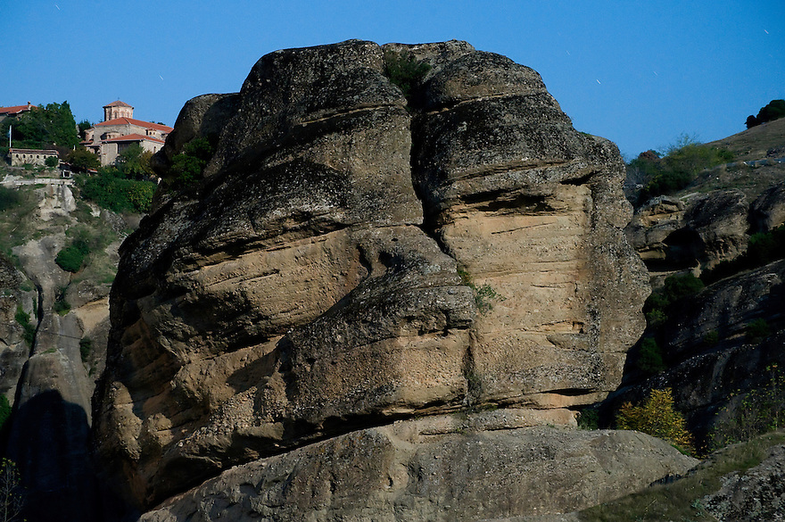 Greece, Meteora, stone-face in Moonlight near Varlaam Monastery