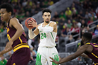 LAS VEGAS, NV - March 9, 2017: Oregon Ducks Men's Basketball team vs. the Arizona State Sun Devils. Final Score: Oregon Ducks 80, Arizona State Sun Devils 57