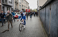 Tom Boonen (BEL/Quick-Step Floors) in his last ever (farewell) race on Belgian soil is followed by fans and press on his way to the start podium<br /> <br /> 105th Scheldeprijs 2017 (1.HC)<br /> 1 Day Race: Mol &rsaquo; Schoten (BEL/202km)