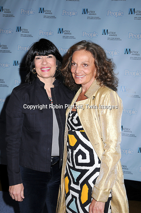 Christiane Amanpour and Diane Von Furstenberg.posing for photographers at The 2008 Matrix Awards on .April 7, 2008 at The Waldorf Astoria Hotel in New York. Susan Gianinno, Anna Deavere Smith, Robin Roberts, Ruth Reichl, Linda Greenhouse, Joannie Danielides, Anne Sweeney and Diane Von Furstenberg were the honorees. ..Robin Platzer, Twin Images