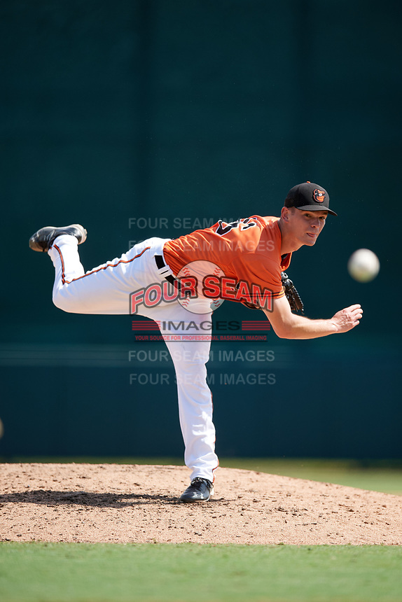 Baltimore Orioles pitcher Tim Naughton (86) delivers a pitch during an Instructional League game against the Atlanta Braves on September 25, 2017 at Ed Smith Stadium in Sarasota, Florida.  (Mike Janes/Four Seam Images)