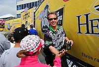 May 20, 2012; Topeka, KS, USA: NHRA funny car driver Bob Bode during the Summer Nationals at Heartland Park Topeka. Mandatory Credit: Mark J. Rebilas-