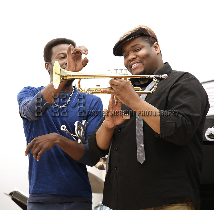 """Yamin Mustafa and Juson Williams  During the Open Rehearsal for the Miami New Drama's World Premiere Musical  """"A Wonderful World"""" at the Ripley-Grier Studios on January 26, 2020 in New York City."""