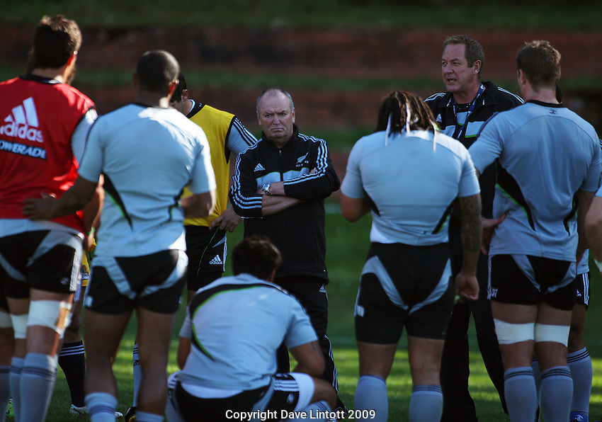 All Blacks skills coach Mick Byrne talks to the squad as head coach Graham Henry listens in. All Blacks Training Session at Rugby League Park, Newtown, Wellington. Thursday 17 September 2009. Photo: Dave Lintott/lintottphoto.co.nz
