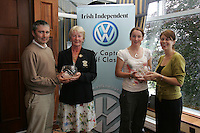 Irish Independent Lady Captains Golf Classic Regional Finals..Liam McCool Left and Louise Collins Right presents Slieve Russel Laura Brown and Ann Harte winners with 37 points...Photo: Fran Caffrey/ Newsfile.