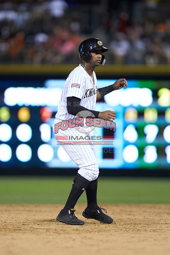 Eloy Jimenez (16) of the Charlotte Knights takes his lead off of second base against the Toledo Mud Hens at BB&T BallPark on June 22, 2018 in Charlotte, North Carolina. The Mud Hens defeated the Knights 4-0.  (Brian Westerholt/Four Seam Images)