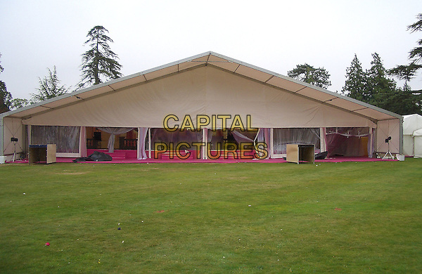 JORDAN &PETER ANDRE'S WEDDING.Where Jordan married Peter Andre on the.10th September 2005 at Highclere Castle in Berkshire .the marquee for the reception.Ref : FEE.www.capitalpictures.com.sales@capitalpictures.com.© Capital Pictures.