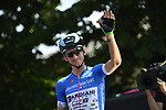 Giulio Ciccone (ITA) Bardiana-CSF wearing the Maglia Azzurra at sign on before the start of Stage 18 of the 2018 Giro d'Italia, running 196km from Abbiategrasso to Prato Nevoso, Italy. 24th May 2018.<br />