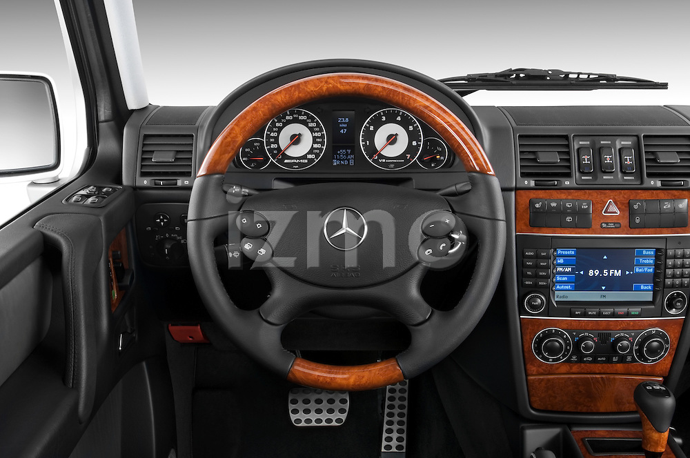 Steering wheel view of a 2008 Mercedes Benz G55 AMG